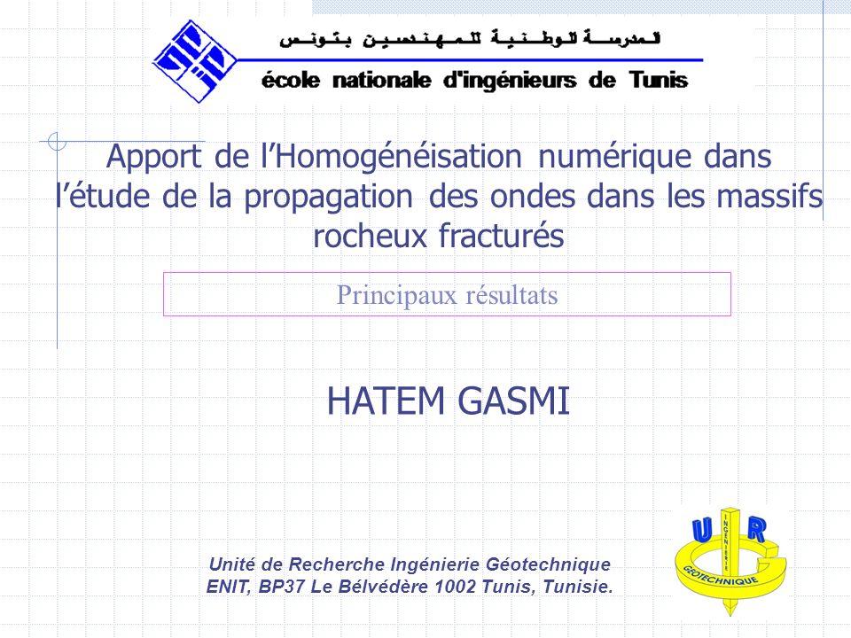 1 Apport de lHomogénéisation numérique dans létude de la propagation des ondes dans les massifs rocheux fracturés HATEM GASMI Unité de Recherche Ingén