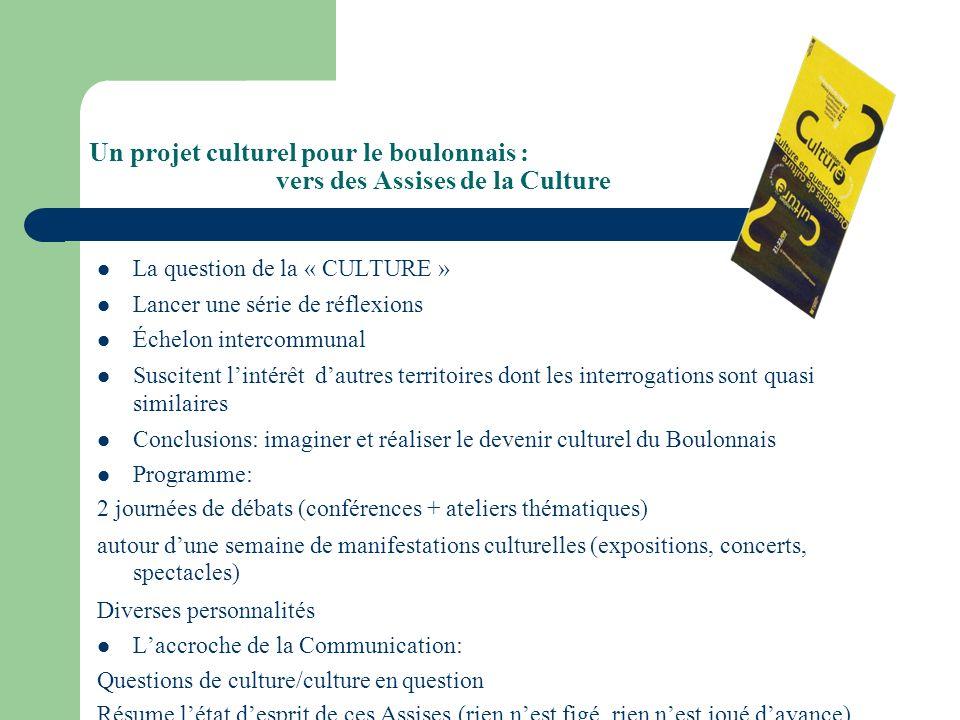 Un projet culturel pour le boulonnais : vers des Assises de la Culture La question de la « CULTURE » Lancer une série de réflexions Échelon intercommu