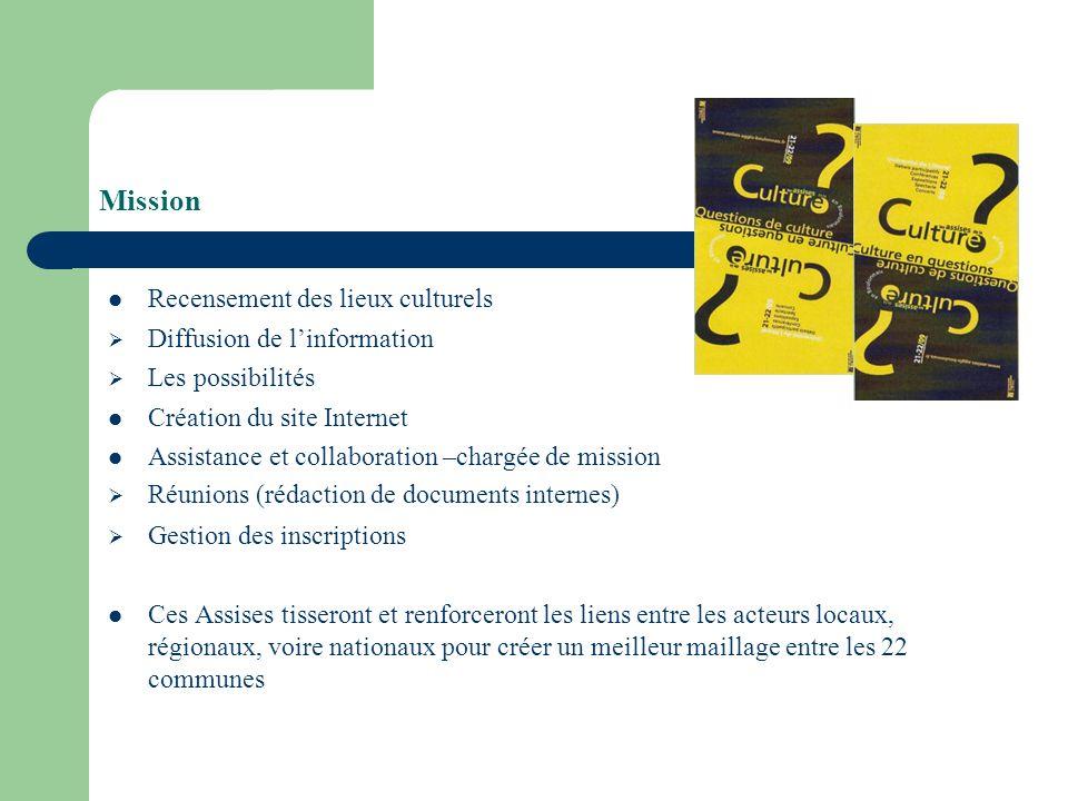 Mission Recensement des lieux culturels Diffusion de linformation Les possibilités Création du site Internet Assistance et collaboration –chargée de m