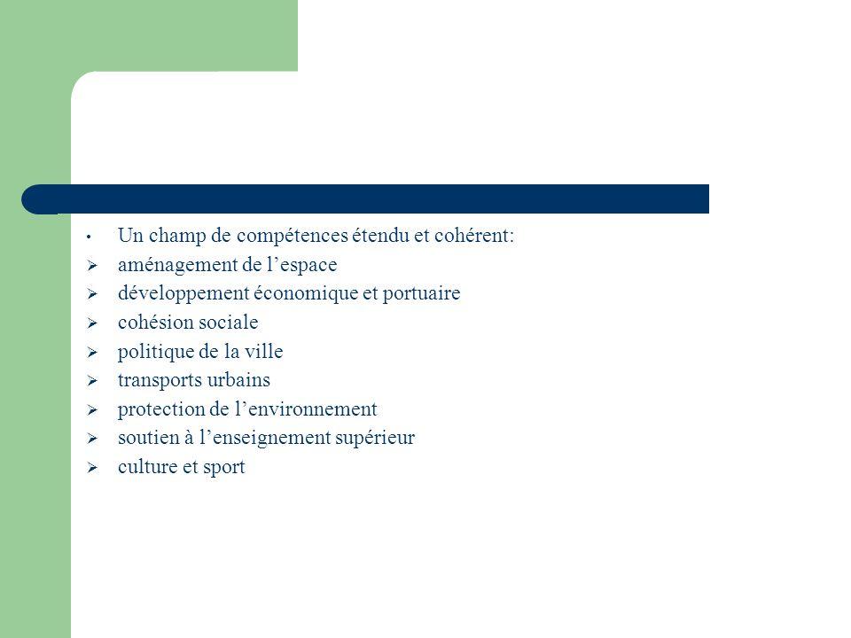 Un champ de compétences étendu et cohérent: aménagement de lespace développement économique et portuaire cohésion sociale politique de la ville transports urbains protection de lenvironnement soutien à lenseignement supérieur culture et sport