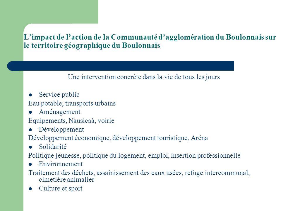 Limpact de laction de la Communauté dagglomération du Boulonnais sur le territoire géographique du Boulonnais Une intervention concrète dans la vie de