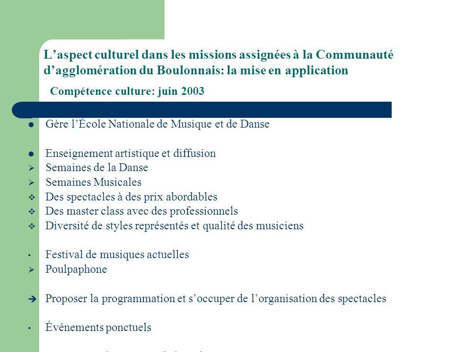 Laspect culturel dans les missions assignées à la Communauté dagglomération du Boulonnais: la mise en application Compétence culture: juin 2003 Gère l
