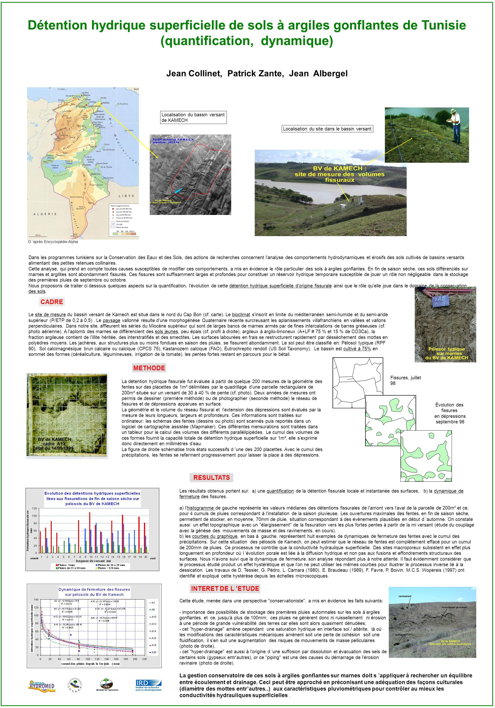 Détention hydrique superficielle de sols à argiles gonflantes de Tunisie (quantification, dynamique) Jean Collinet, Patrick Zante, Jean Albergel Dans