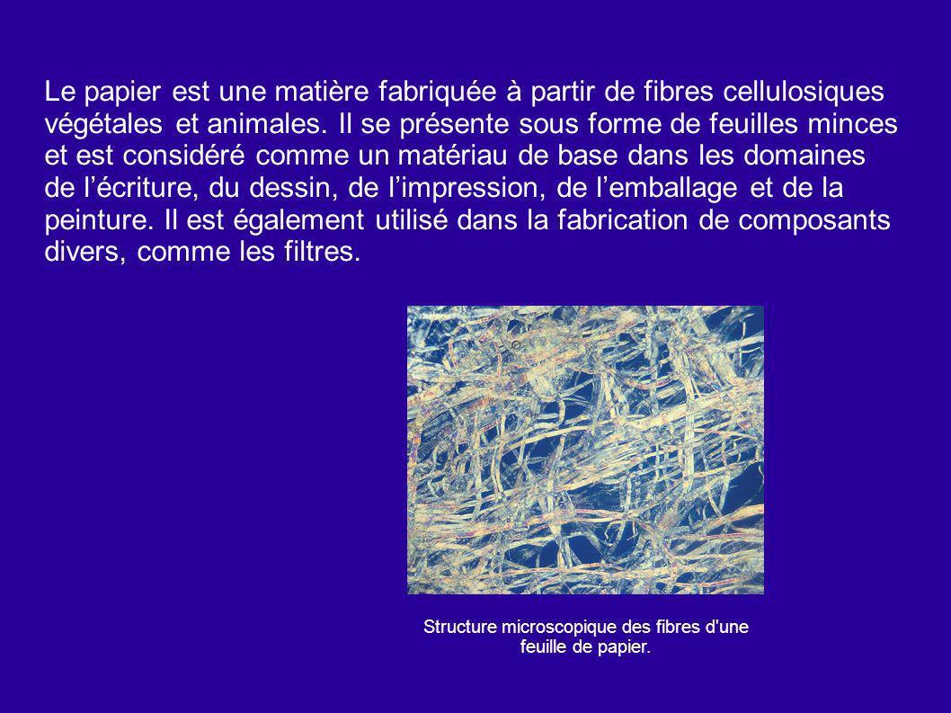 Le papier est une matière fabriquée à partir de fibres cellulosiques végétales et animales. Il se présente sous forme de feuilles minces et est consid