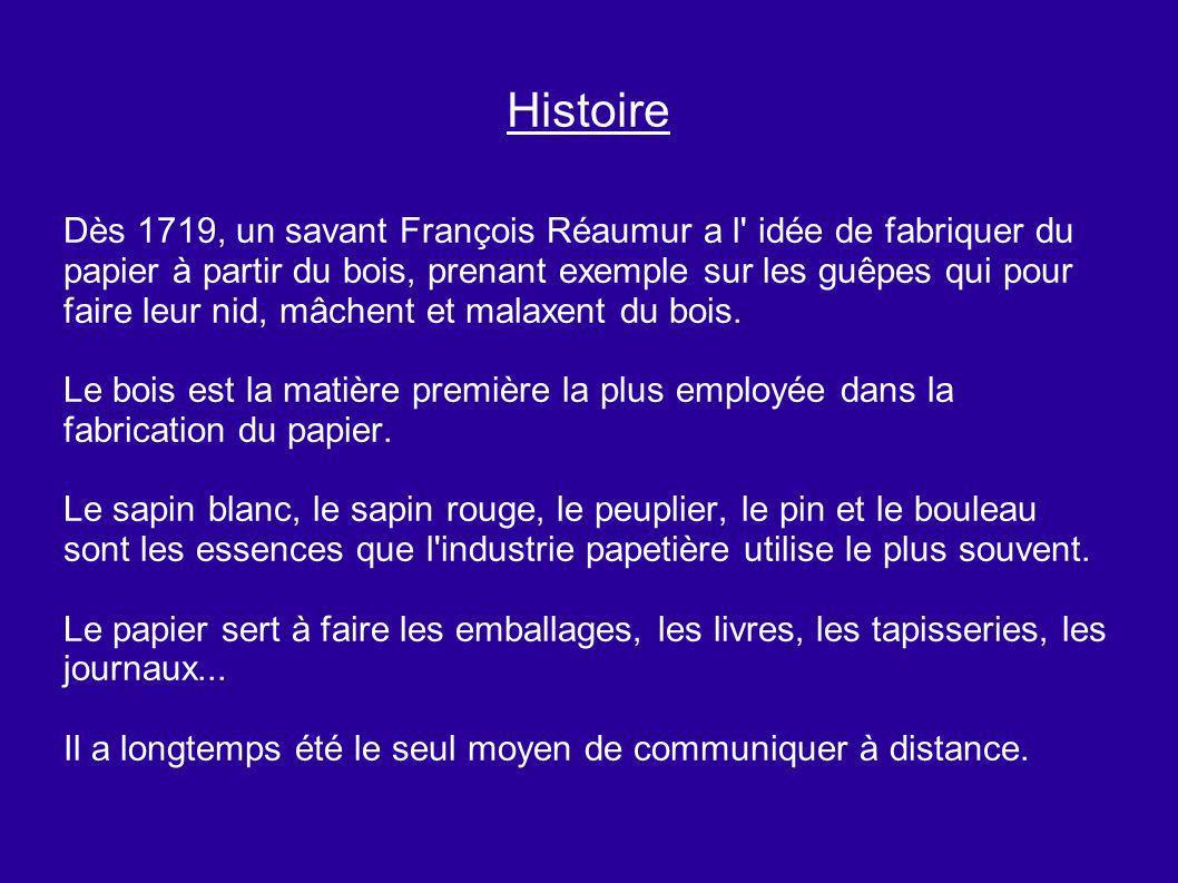 Histoire Dès 1719, un savant François Réaumur a l' idée de fabriquer du papier à partir du bois, prenant exemple sur les guêpes qui pour faire leur ni