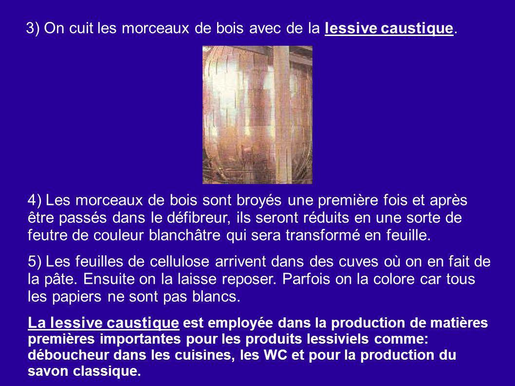 3) On cuit les morceaux de bois avec de la lessive caustique. 4) Les morceaux de bois sont broyés une première fois et après être passés dans le défib