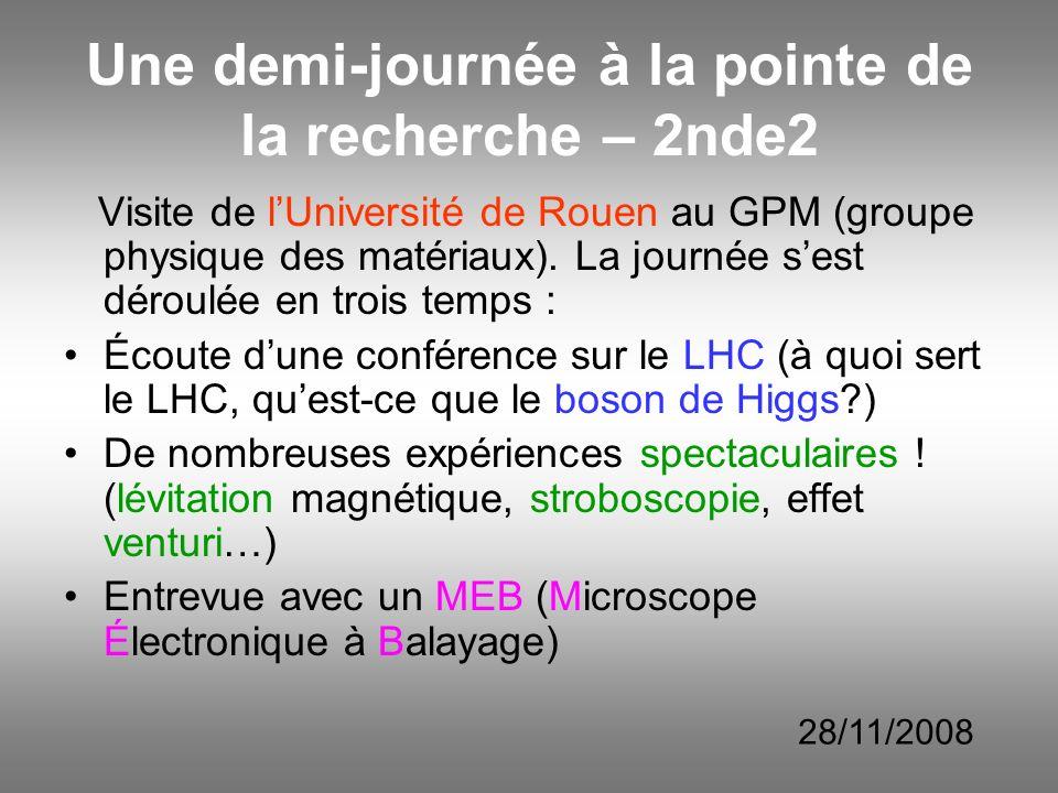 Une demi-journée à la pointe de la recherche – 2nde2 Visite de lUniversité de Rouen au GPM (groupe physique des matériaux). La journée sest déroulée e