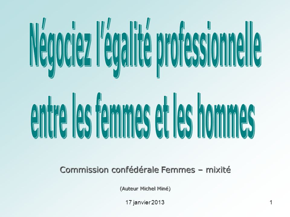 Commission confédérale Femmes – mixité (Auteur Michel Miné) 17 janvier 20131