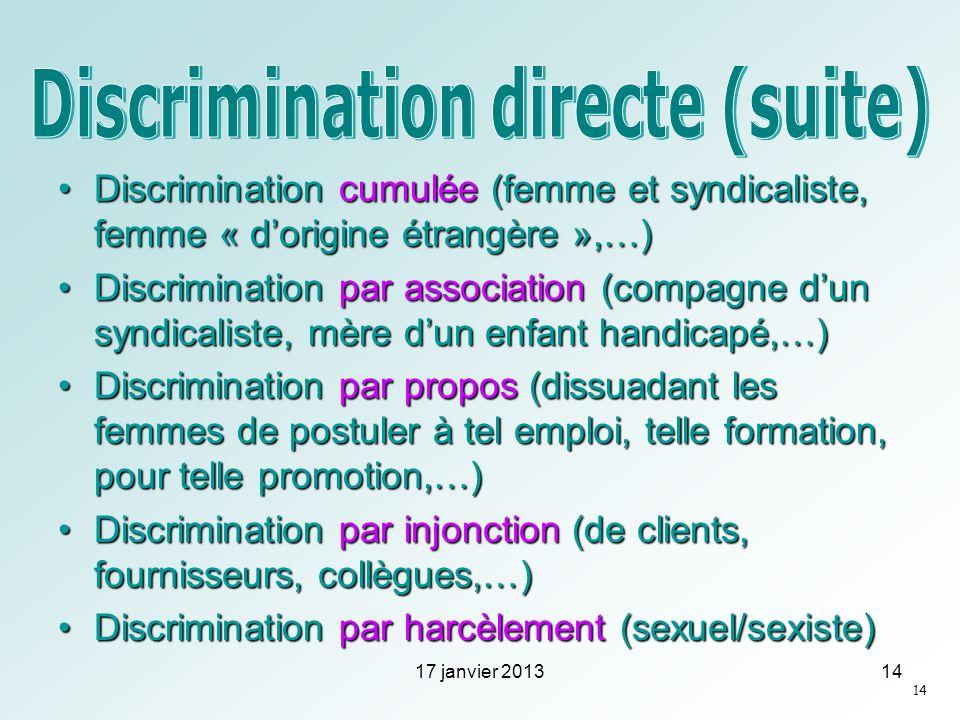Discrimination cumulée (femme et syndicaliste, femme « dorigine étrangère »,…)Discrimination cumulée (femme et syndicaliste, femme « dorigine étrangèr