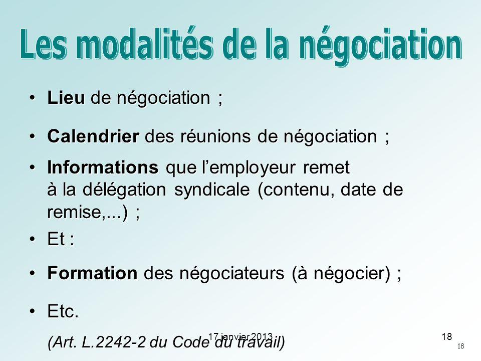 Lieu de négociation ;Lieu de négociation ; Calendrier des réunions de négociation ;Calendrier des réunions de négociation ; Informations que lemployeu