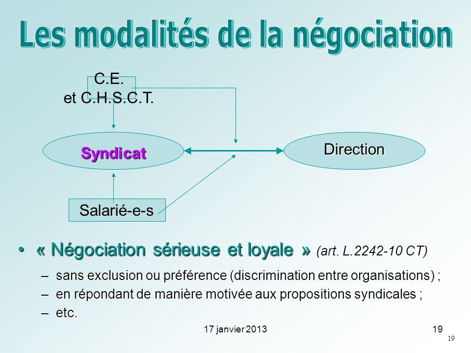 « Négociation sérieuse et loyale » (art. L.2242-10 CT)« Négociation sérieuse et loyale » (art. L.2242-10 CT) –sans exclusion ou préférence (discrimina