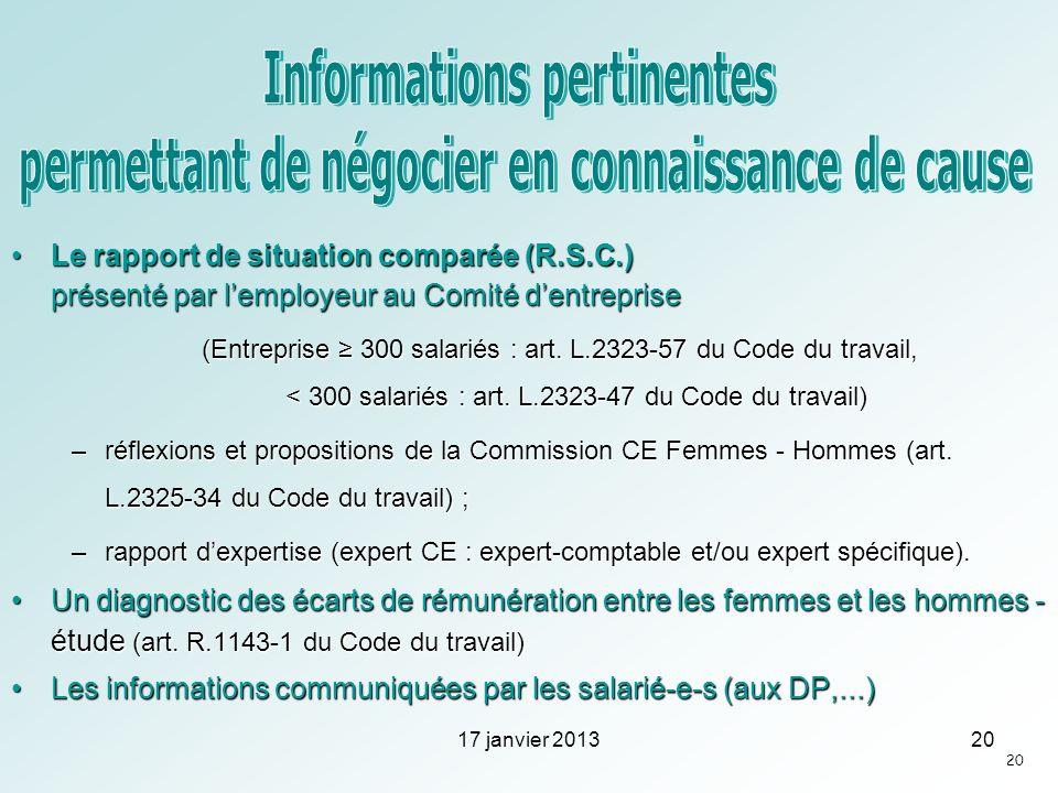 Le rapport de situation comparée (R.S.C.) présenté par lemployeur au Comité dentrepriseLe rapport de situation comparée (R.S.C.) présenté par lemploye