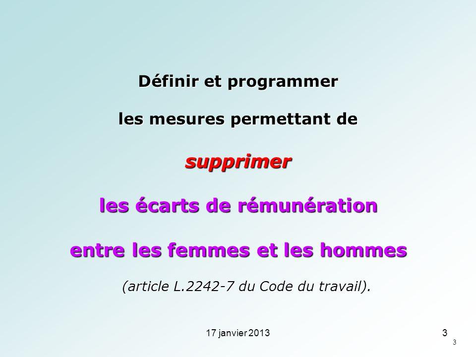 Définir et programmer les mesures permettant de supprimer les écarts de rémunération entre les femmes et les hommes (article L.2242-7 du Code du trava