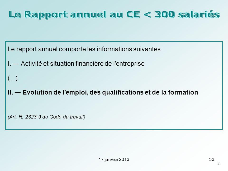 Le rapport annuel comporte les informations suivantes : I. Activité et situation financière de l'entreprise (...) II. Evolution de l'emploi, des quali