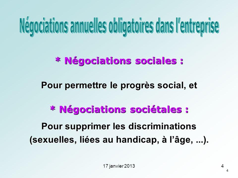 * Négociations sociales : Pour permettre le progrès social, et * Négociations sociétales : Pour supprimer les discriminations (sexuelles, liées au han