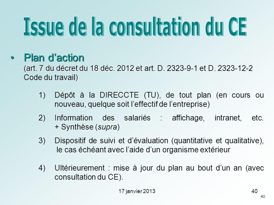 Plan daction (art. 7 du décret du 18 déc. 2012 et )Plan daction (art. 7 du décret du 18 déc. 2012 et art. D. 2323-9-1 et D. 2323-12-2 Code du travail)