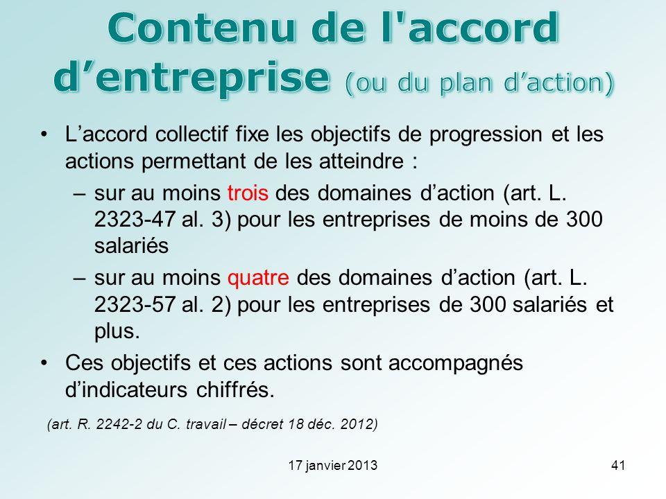 Laccord collectif fixe les objectifs de progression et les actions permettant de les atteindre : –sur au moins trois des domaines daction (art. L. 232