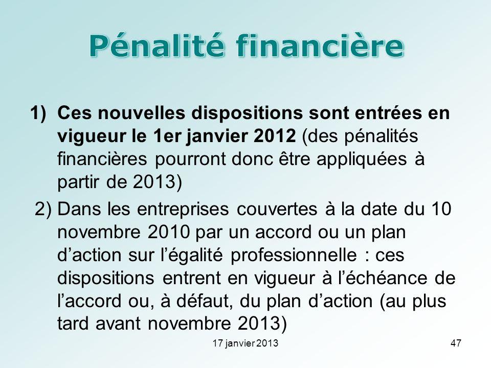 1)Ces nouvelles dispositions sont entrées en vigueur le 1er janvier 2012 (des pénalités financières pourront donc être appliquées à partir de 2013) 2)