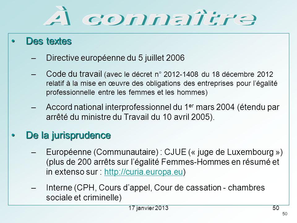 Des textesDes textes –Directive européenne du 5 juillet 2006 –Code du travail (avec le décret n° 2012-1408 du 18 décembre 2012 relatif à la mise en œu