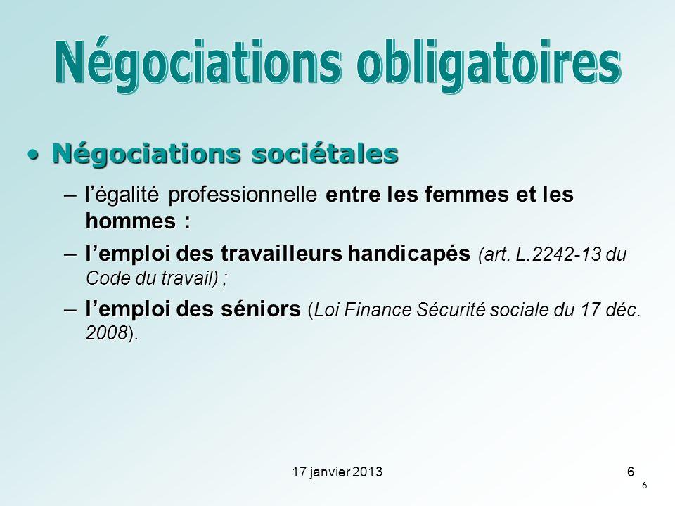 Négociations sociétalesNégociations sociétales –légalité professionnelle entre les femmes et les hommes : –lemploi des travailleurs handicapés (art. L
