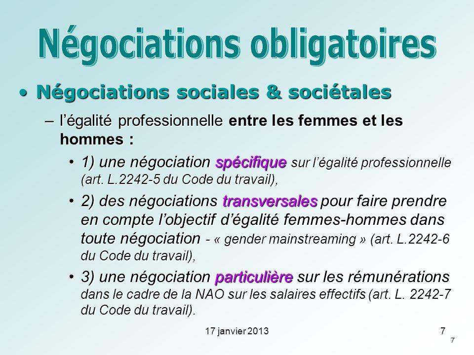 Négociations sociales & sociétalesNégociations sociales & sociétales –légalité professionnelle entre les femmes et les hommes : 1) une négociation spé