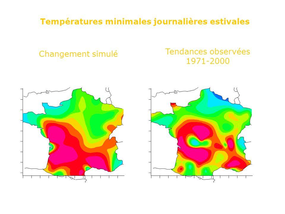 Températures minimales journalières estivales Changement simulé Tendances observées 1971-2000