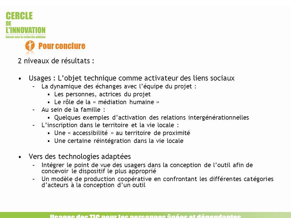 2 niveaux de résultats : Usages : Lobjet technique comme activateur des liens sociaux –La dynamique des échanges avec léquipe du projet : Les personne