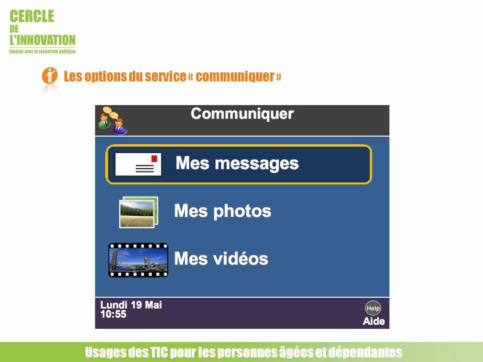 Les options du service « communiquer » Usages des TIC pour les personnes âgées et dépendantes