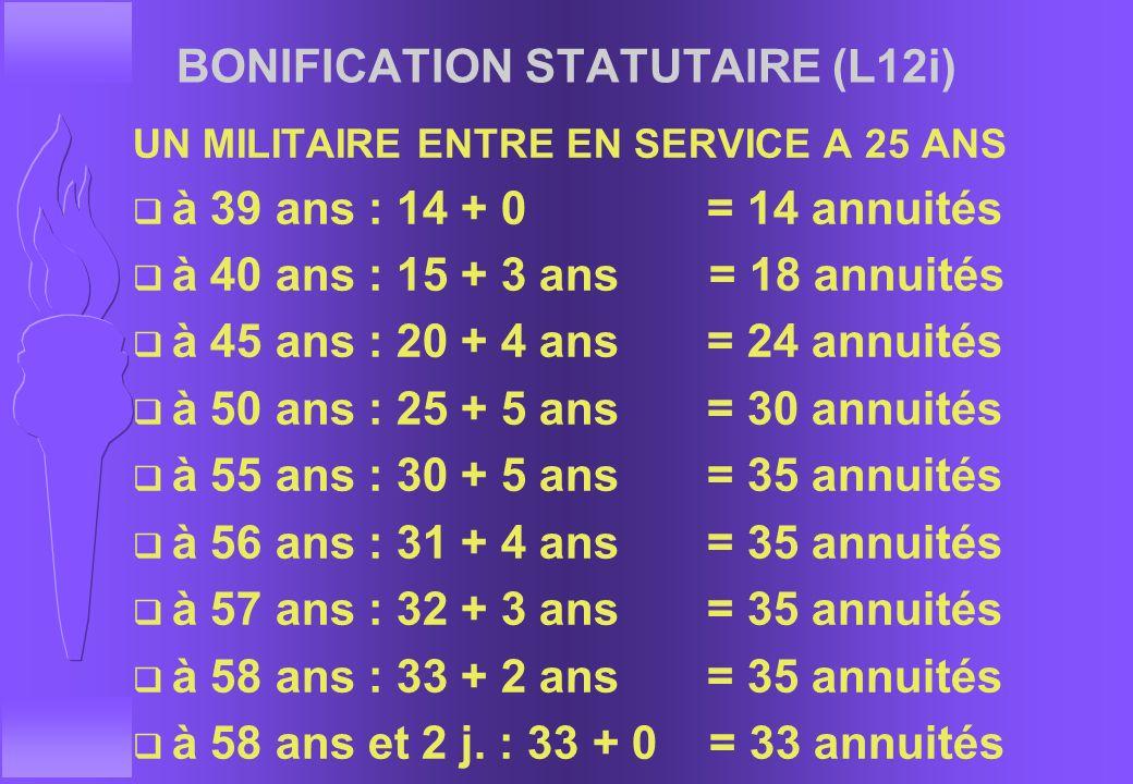 LIQUIDATION DE LA PENSION LES BONIFICATIONS q BONIFICATION STATUTAIRE (L12i) F A PARTIR DE 15 ANS DE SERVICES MILITAIRES EFFECTIFS F 1/5EME DU TEMPS D