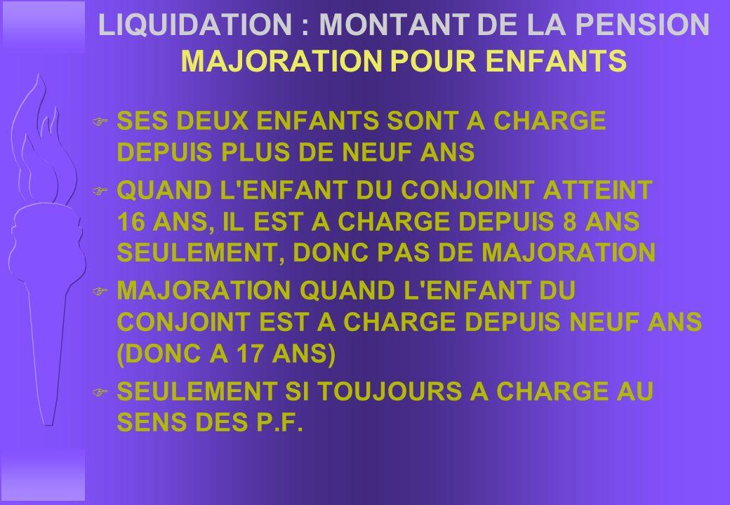 LIQUIDATION : MONTANT DE LA PENSION MAJORATION POUR ENFANTS q SOIT UN MILITAIRE DIVORCE AVEC DEUX ENFANTS DE 16 ET 10 ANS q PREND UN NOUVEAU CONJOINT