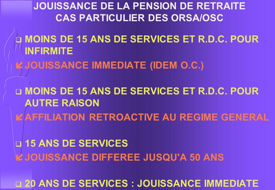 JOUISSANCE DE LA PENSION DE RETRAITE JOUISSANCE DIFFEREE q OFFICIERS ENTRE 15 ET 25 ANS DE SERVICES F RDC SUR DEMANDE AGREEE îJOUISSANCE DIFFEREE JUSQ