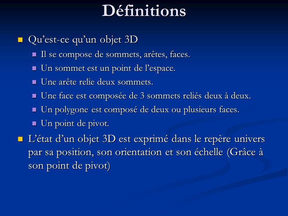 Définitions Quest-ce quun objet 3D Quest-ce quun objet 3D Il se compose de sommets, arêtes, faces.