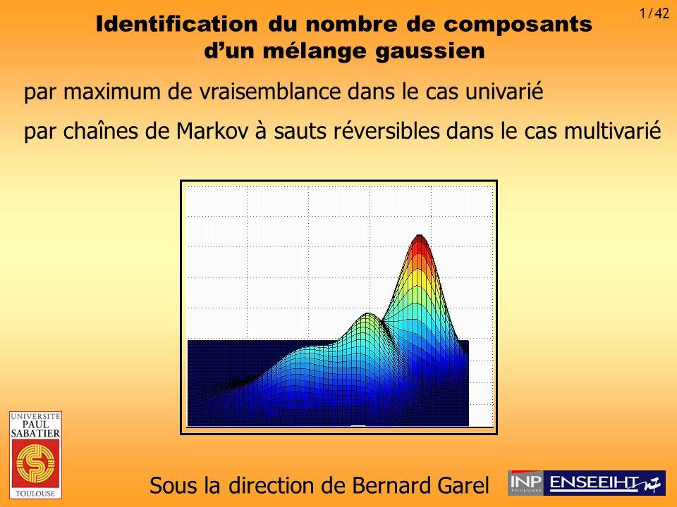 La méthode MCMC à sauts réversibles Soit la variable aléatoire de réalisation Sauts réversibles entre espaces différents 32/42 On génère une chaîne de Markov sur se déplaçant de vers Si : mouvement de Gibbs classique Si : changement de dimension !
