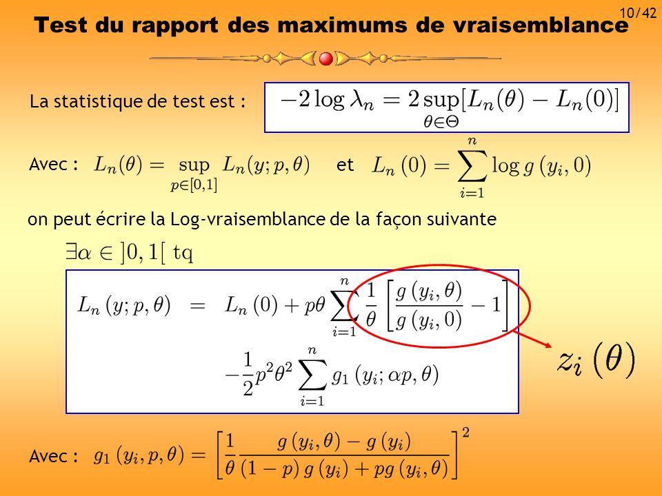 La statistique de test est : Avec : Test du rapport des maximums de vraisemblance on peut écrire la Log-vraisemblance de la façon suivante Avec : et 1