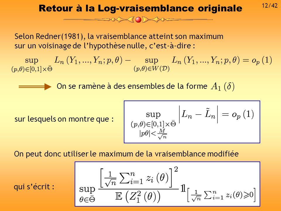 Retour à la Log-vraisemblance originale Selon Redner(1981), la vraisemblance atteint son maximum sur un voisinage de lhypothèse nulle, cest-à-dire : O