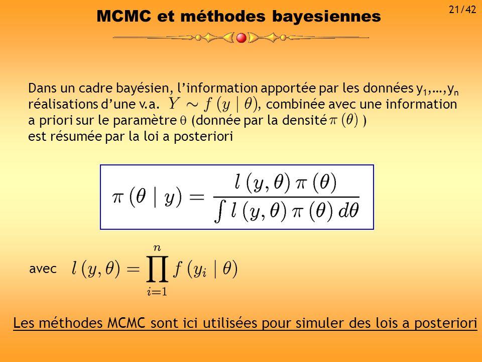 MCMC et méthodes bayesiennes Dans un cadre bayésien, linformation apportée par les données y 1,…,y n réalisations dune v.a., combinée avec une informa