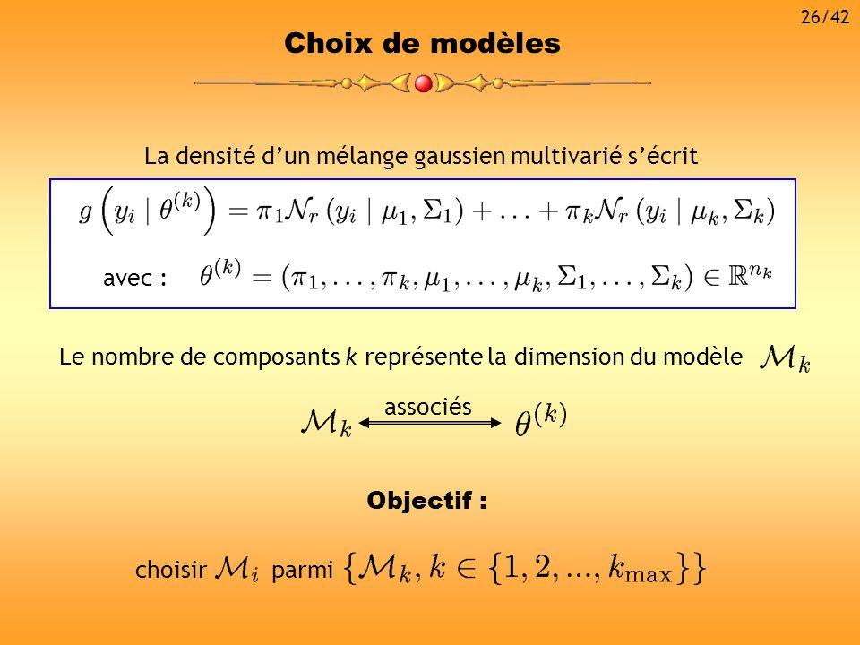 Choix de modèles Le nombre de composants k représente la dimension du modèle associés La densité dun mélange gaussien multivarié sécrit avec : choisir