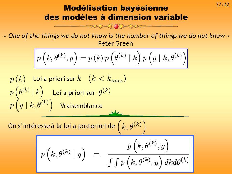 Modélisation bayésienne des modèles à dimension variable On sintéresse à la loi a posteriori de « One of the things we do not know is the number of th
