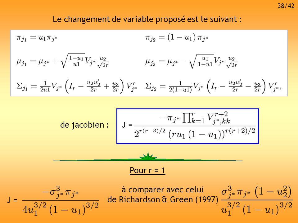 Le changement de variable proposé est le suivant : de jacobien :J = Pour r = 1 J = à comparer avec celui de Richardson & Green (1997) 38/42