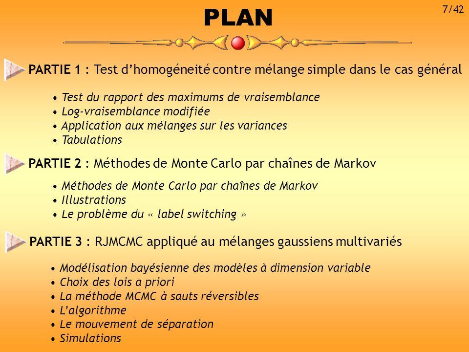 PLAN PARTIE 1 : Test dhomogéneité contre mélange simple dans le cas général PARTIE 2 : Méthodes de Monte Carlo par chaînes de Markov Test du rapport d