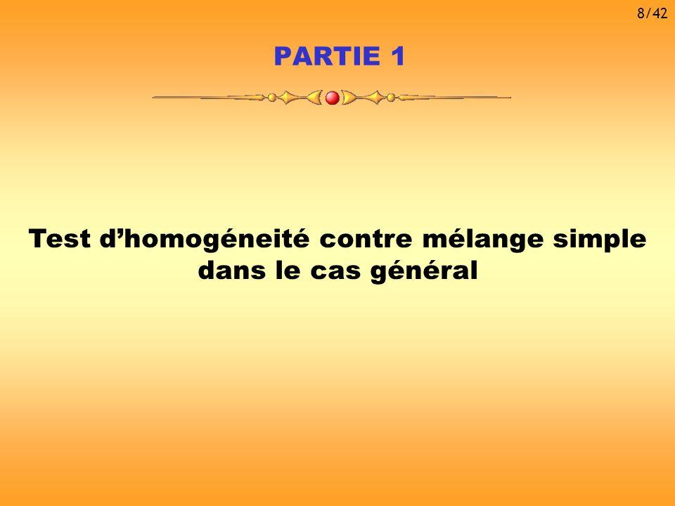 Ce type de problème a été étudié par de nombreux auteurs : Approche adoptée : Résoudre ce problème dans le cas général de manière simple en recherchant des hypothèses minimales sur la densité g Chen & Chen (2001) Garel (2001) Lemdani & Pons (1999) Dacunha- Castelle & Gassiat (1997) Retour à lexemple introductif Homogéneité :Mélange simple : H1H1 H0H0 9/42