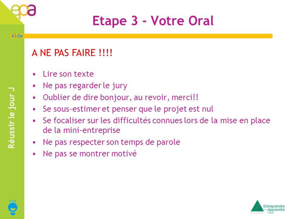 11 Aide Réussir le jour J A NE PAS FAIRE !!!! Etape 3 - Votre Oral Lire son texte Ne pas regarder le jury Oublier de dire bonjour, au revoir, merci!!