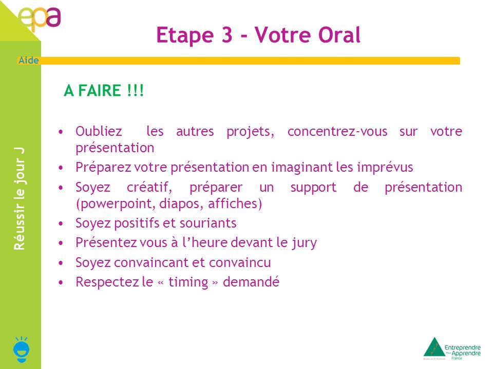 12 Aide Réussir le jour J A FAIRE !!! Etape 3 - Votre Oral Oubliez les autres projets, concentrez-vous sur votre présentation Préparez votre présentat