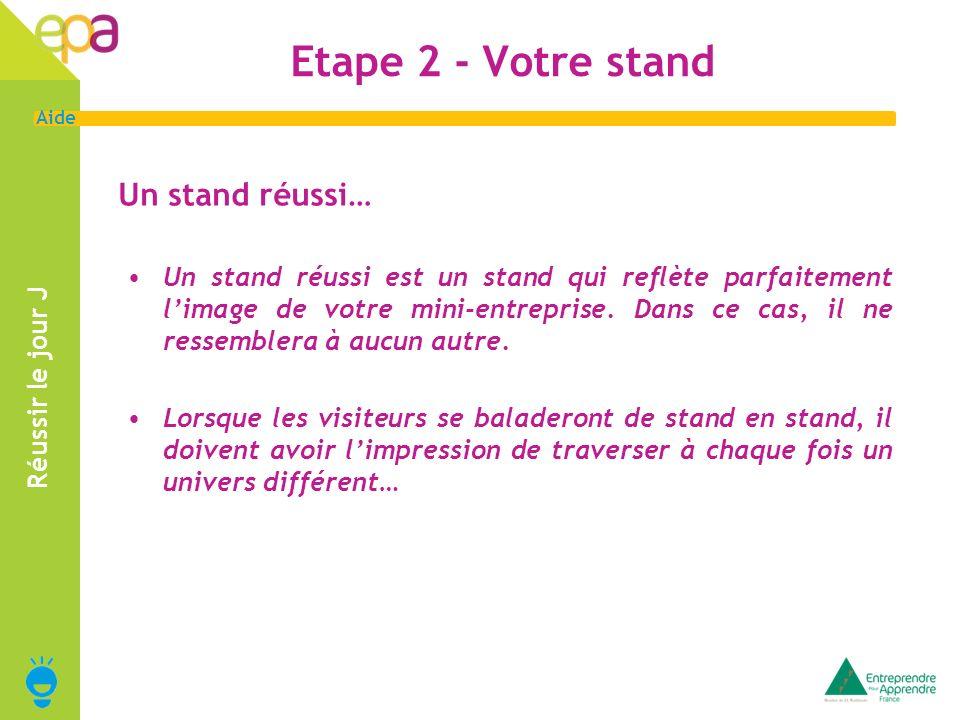 6 Aide Etape 2 - Votre stand Réussir le jour J Un stand réussi… Un stand réussi est un stand qui reflète parfaitement limage de votre mini-entreprise.