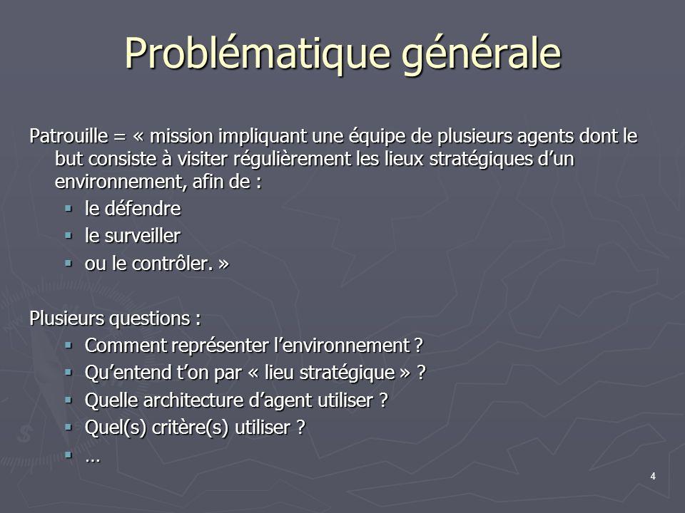 4 Problématique générale Patrouille = « mission impliquant une équipe de plusieurs agents dont le but consiste à visiter régulièrement les lieux strat