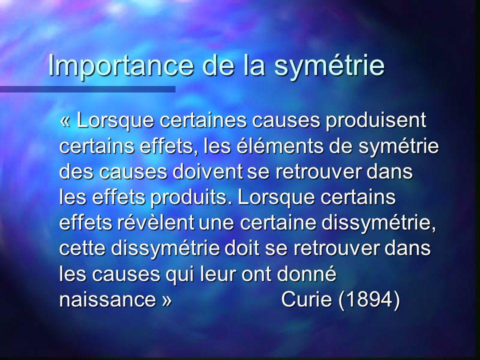Importance de la symétrie « Lorsque certaines causes produisent certains effets, les éléments de symétrie des causes doivent se retrouver dans les eff