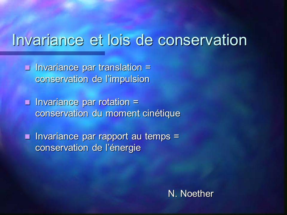 Invariance et lois de conservation Invariance par translation = Invariance par translation = conservation de limpulsion Invariance par rotation = Inva