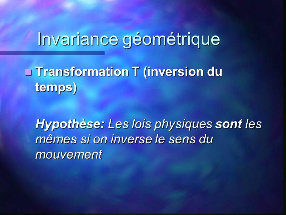 Invariance géométrique Transformation T (inversion du temps) Transformation T (inversion du temps) Hypothèse: Les lois physiques sont les mêmes si on
