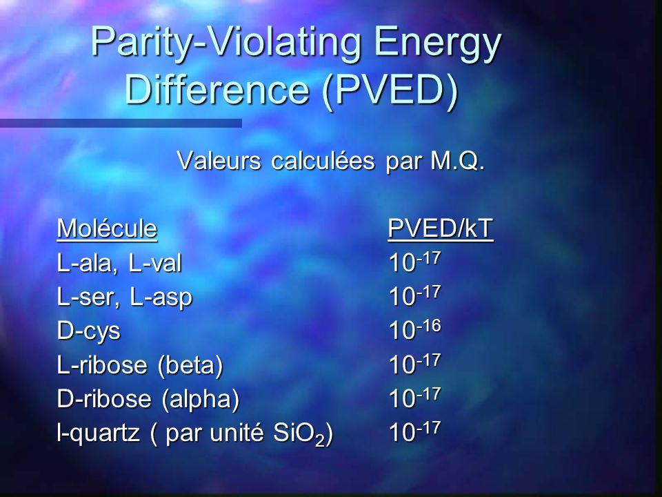 Parity-Violating Energy Difference (PVED) Valeurs calculées par M.Q. MoléculePVED/kT L-ala, L-val10 -17 L-ser, L-asp10 -17 D-cys10 -16 L-ribose (beta)