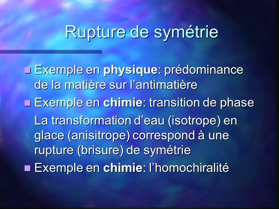 Rupture de symétrie Exemple en physique: prédominance de la matière sur lantimatière Exemple en physique: prédominance de la matière sur lantimatière
